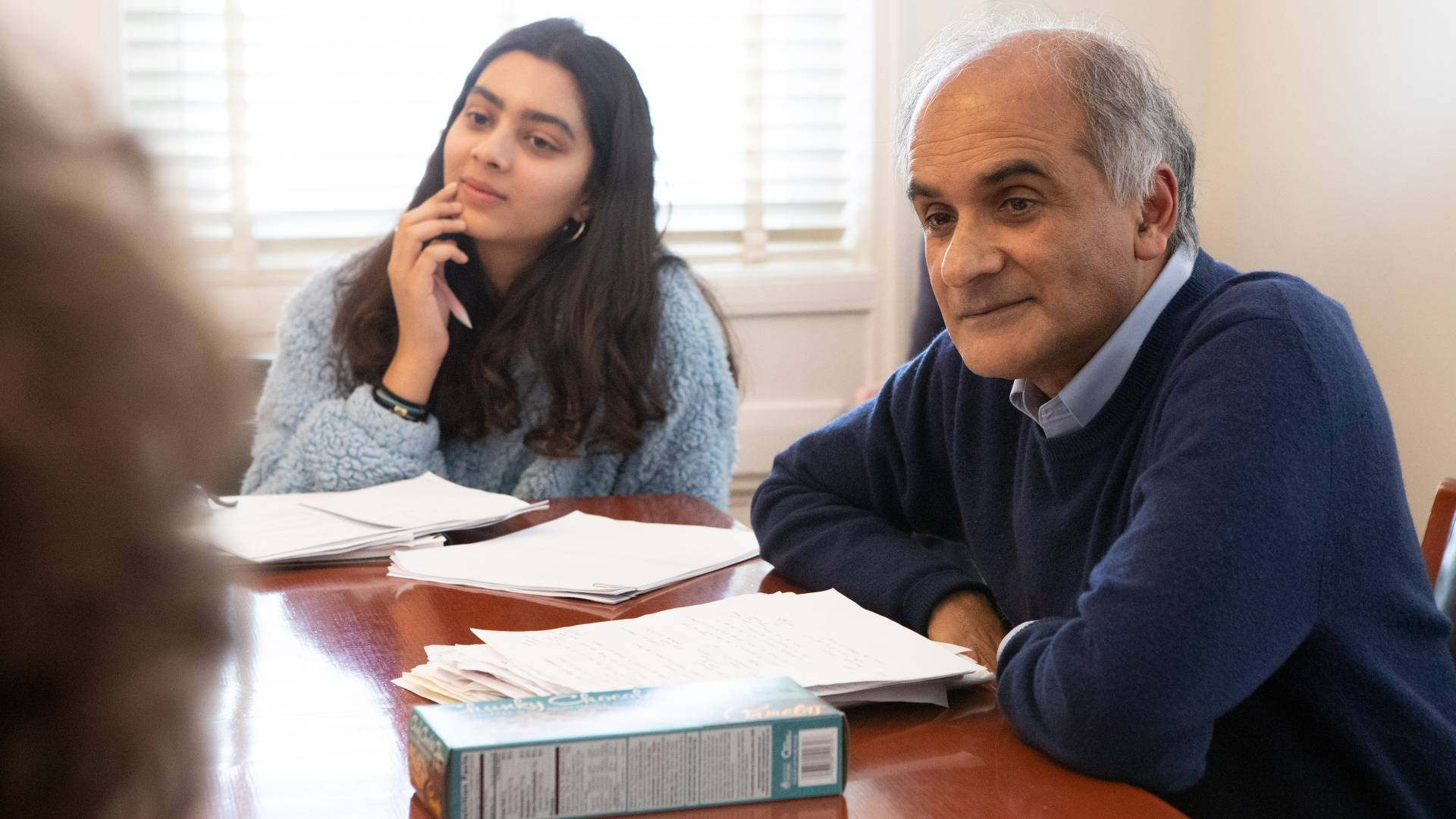 Avanti Divan and Pico Iyer listening to students during class