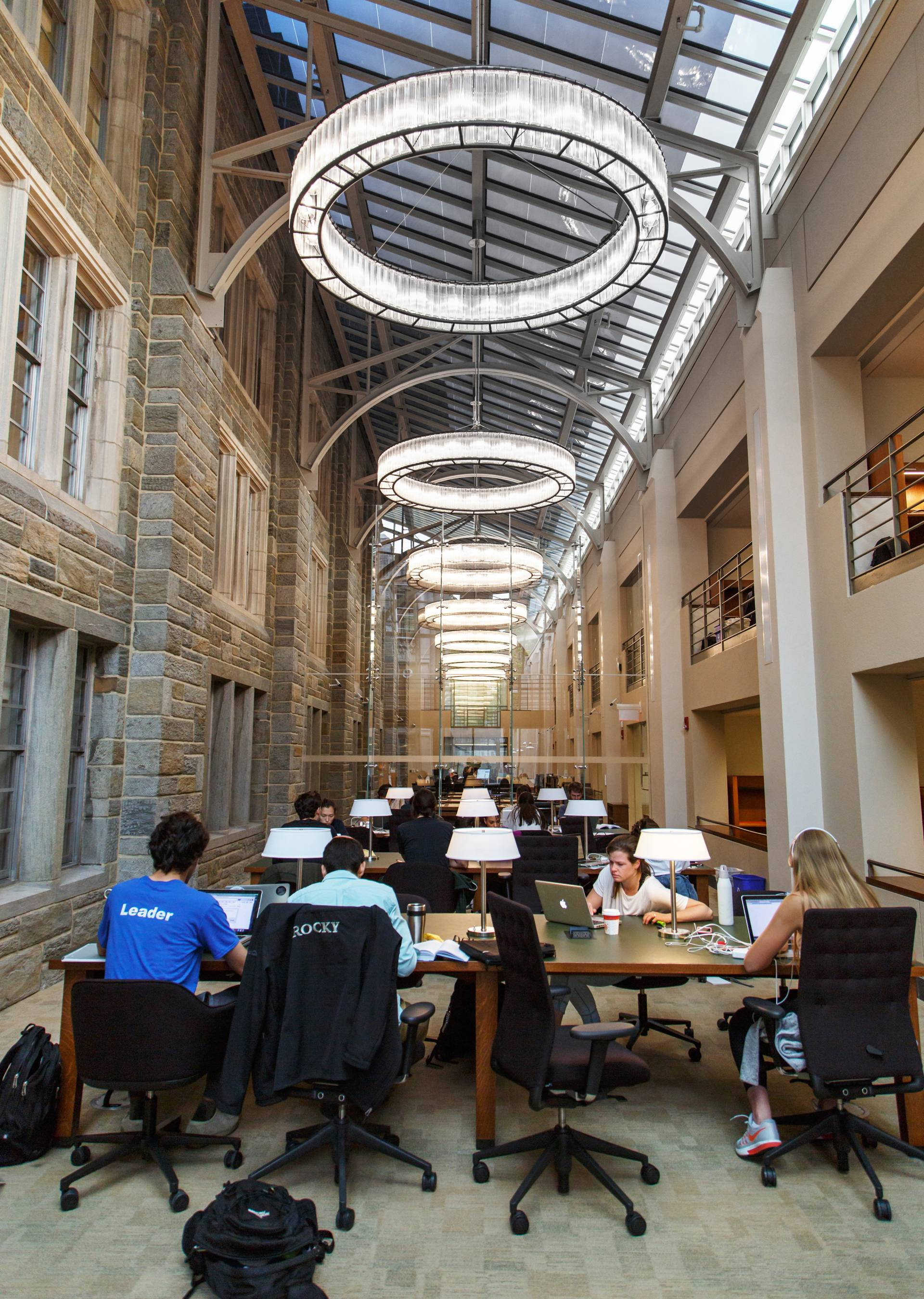 Students studying in library room