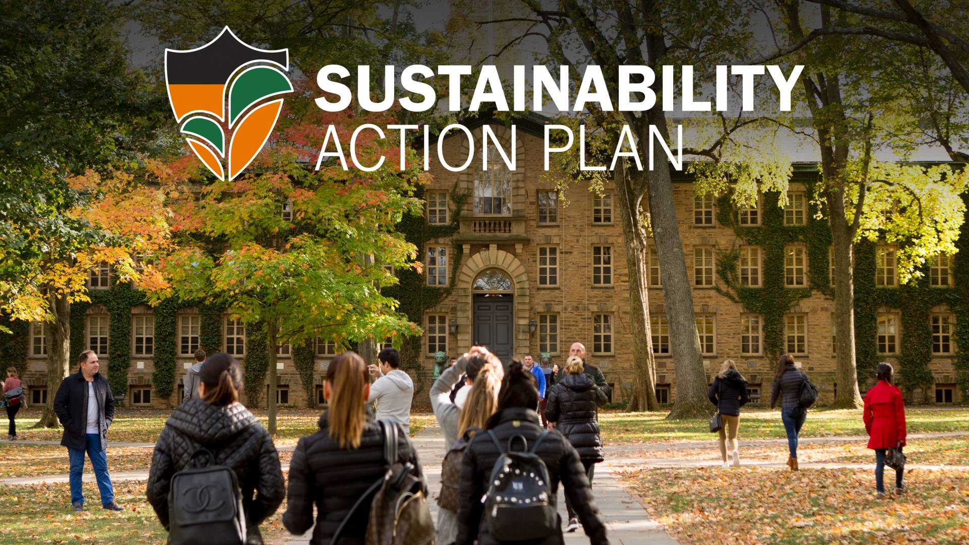 Photo of Nassau Hall with the words Sustainability Action Plan overlaid on it