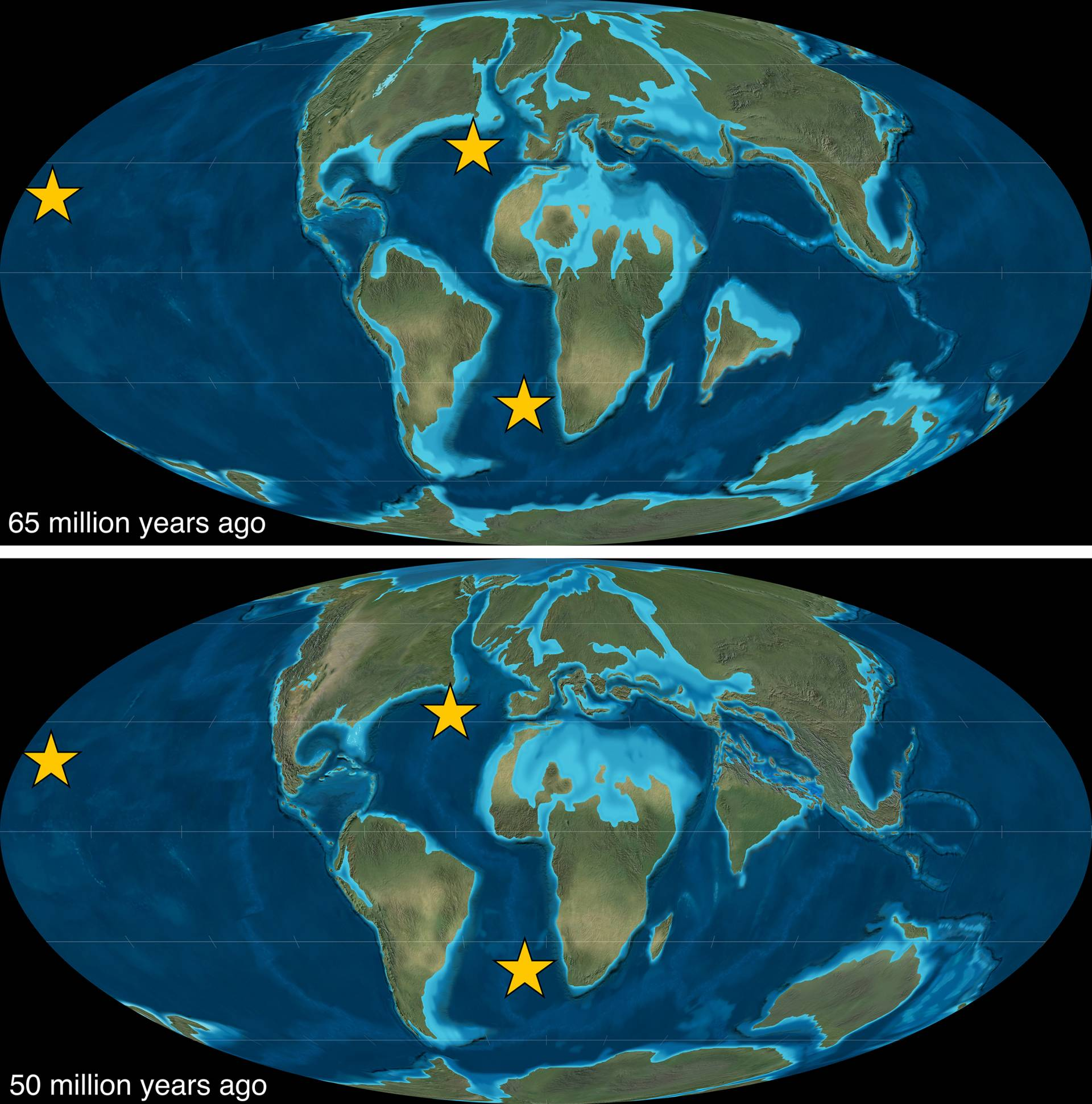 paleomap comparison 65 million years ago vs 50 million years ago
