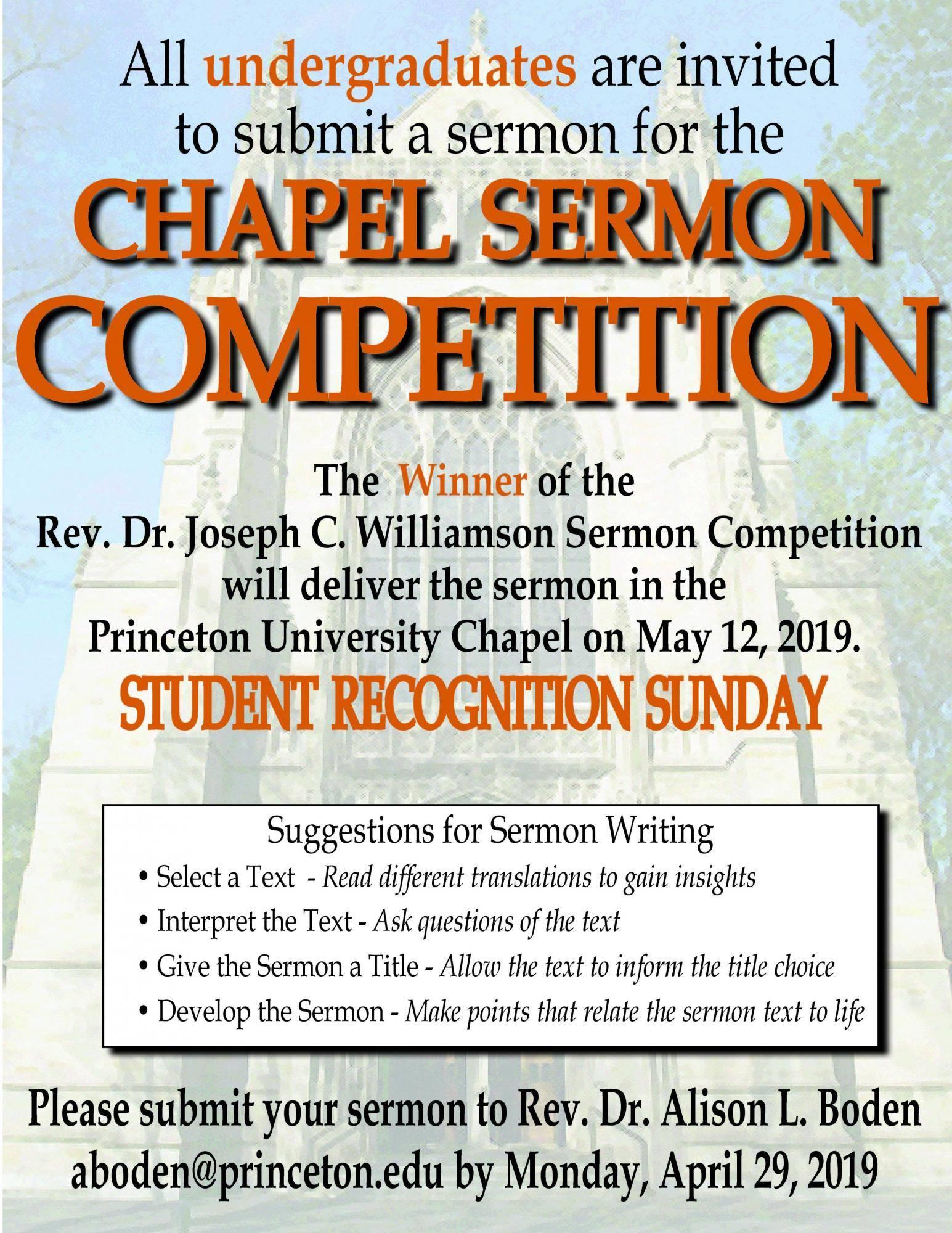 Chapel Sermon Competition - deadline April 29, 2019