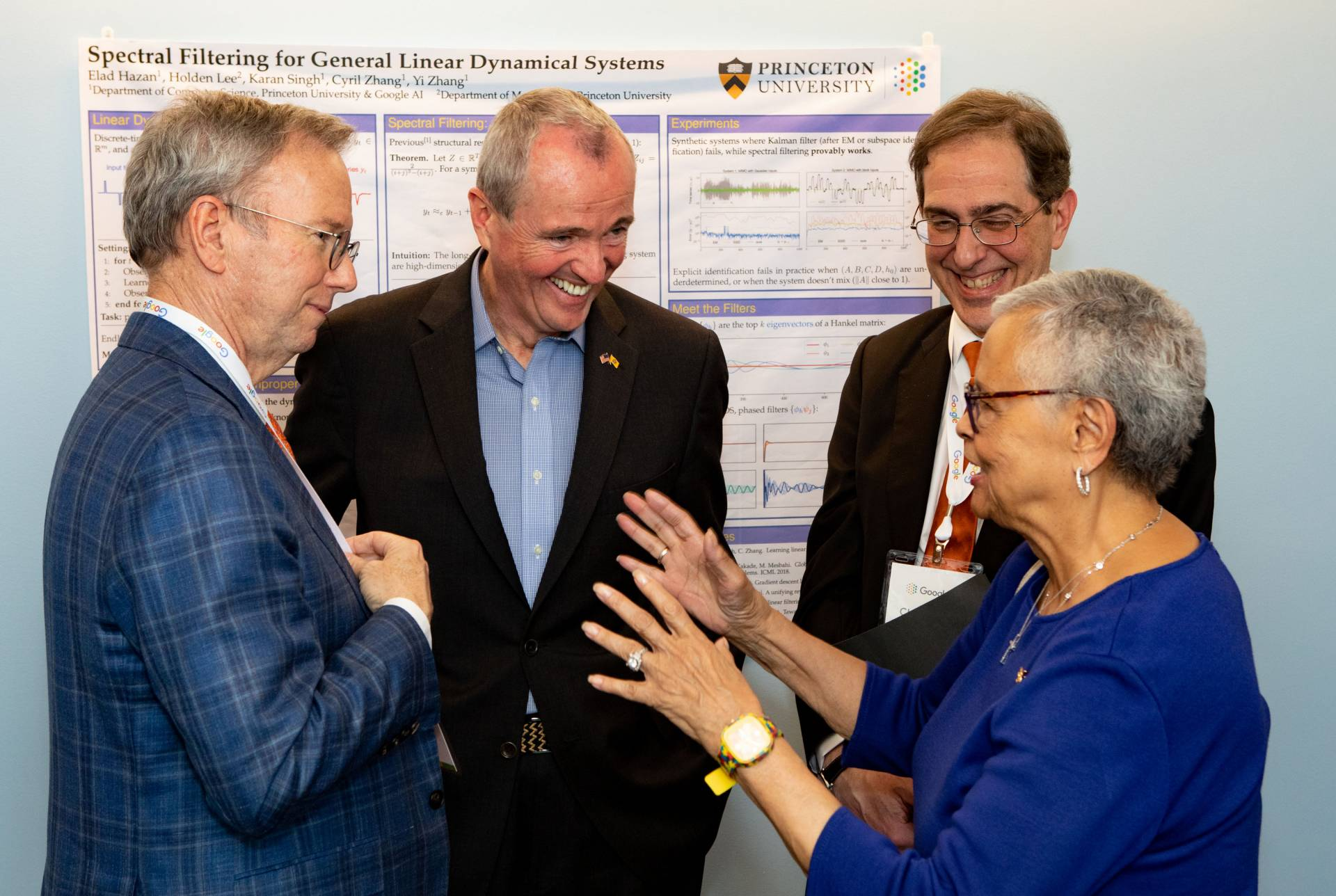 Eric Schmidt, Phil Murphy, President Eisgruber and Bonnie Watson Coleman speaking