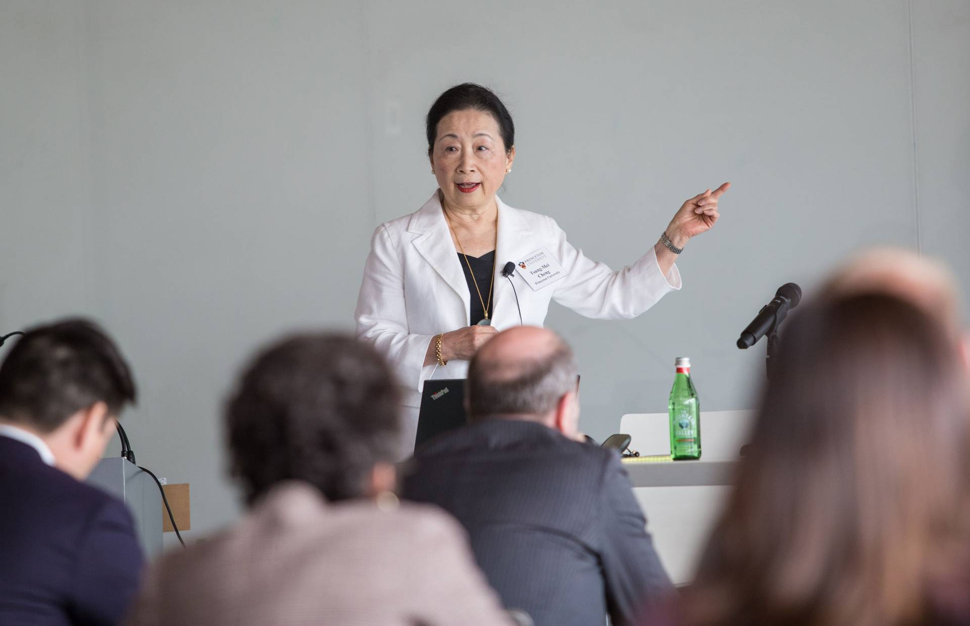 Tsung-Mei Cheng speaks in front of an audience