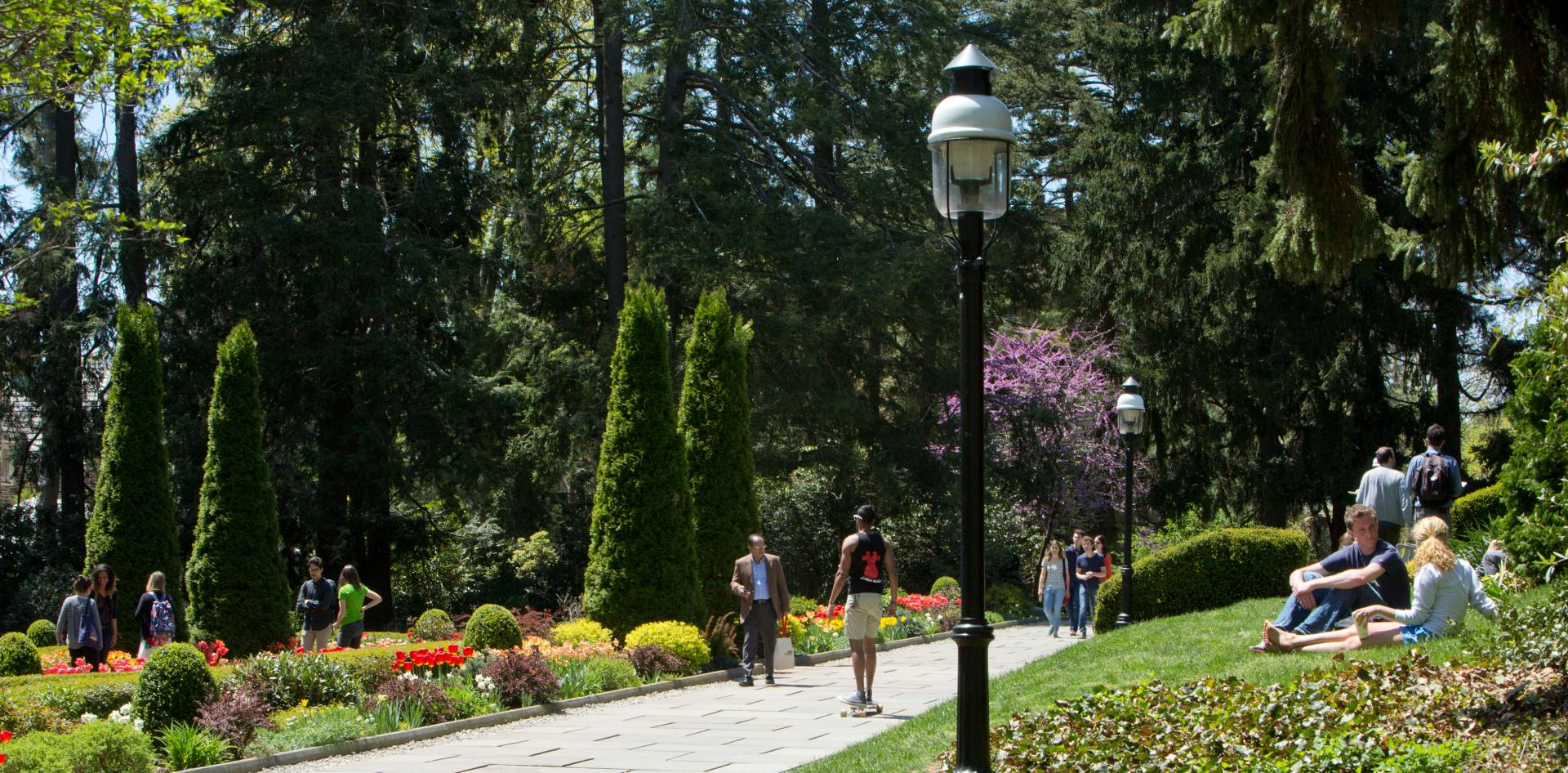 People walk through Prospect House Gardens