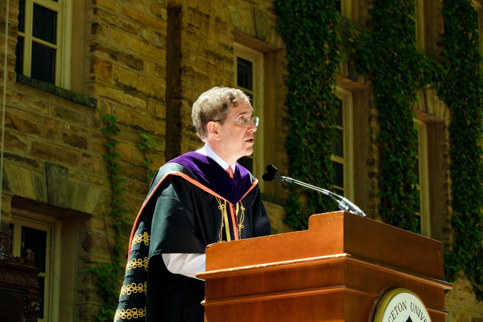 President Christopher L. Eisgruber speaks on a stage at Commencement 2019
