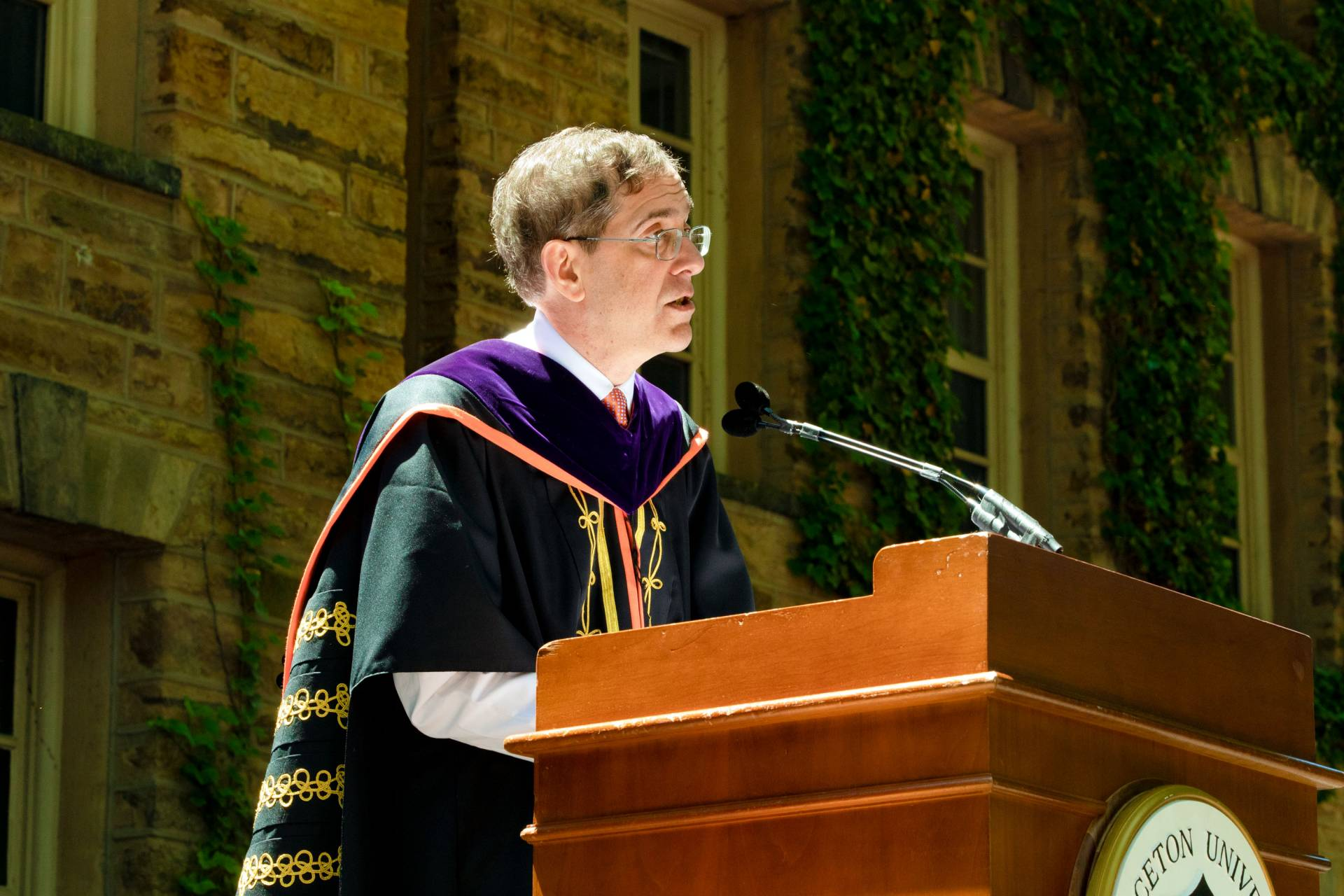 President Eisgruber speaking during the commencement ceremony