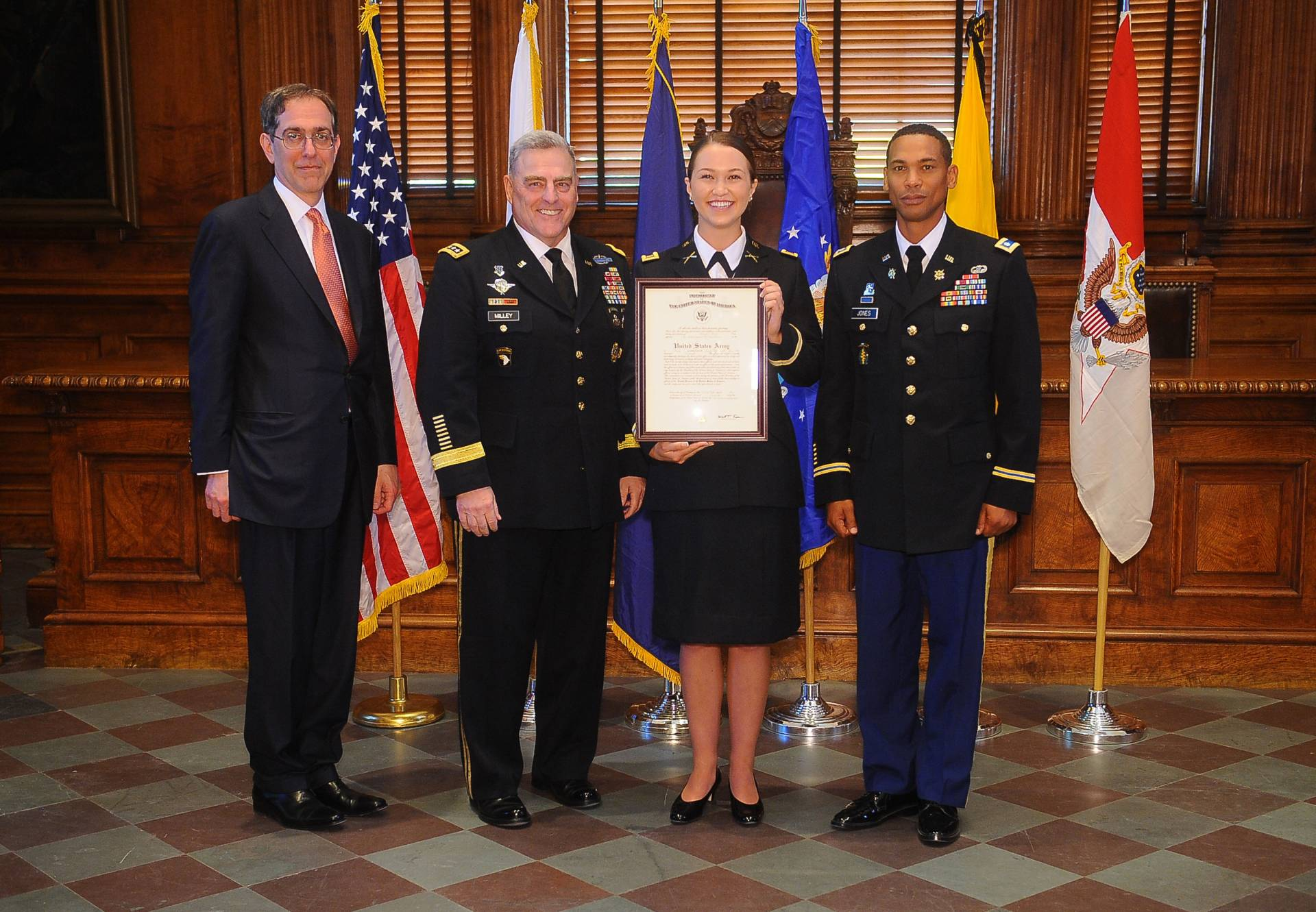 Princeton University President Christopher L. Eisgruber, Gen. Milley and Lt. Col. Courtney Jones, director of the Army Officer Education Program for Princeton's Army ROTC Tiger Battalion