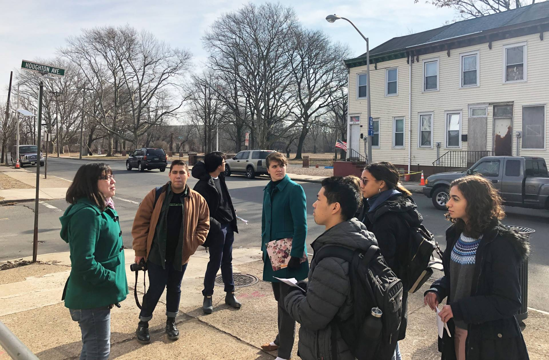 Students on a walking tour in Trenton