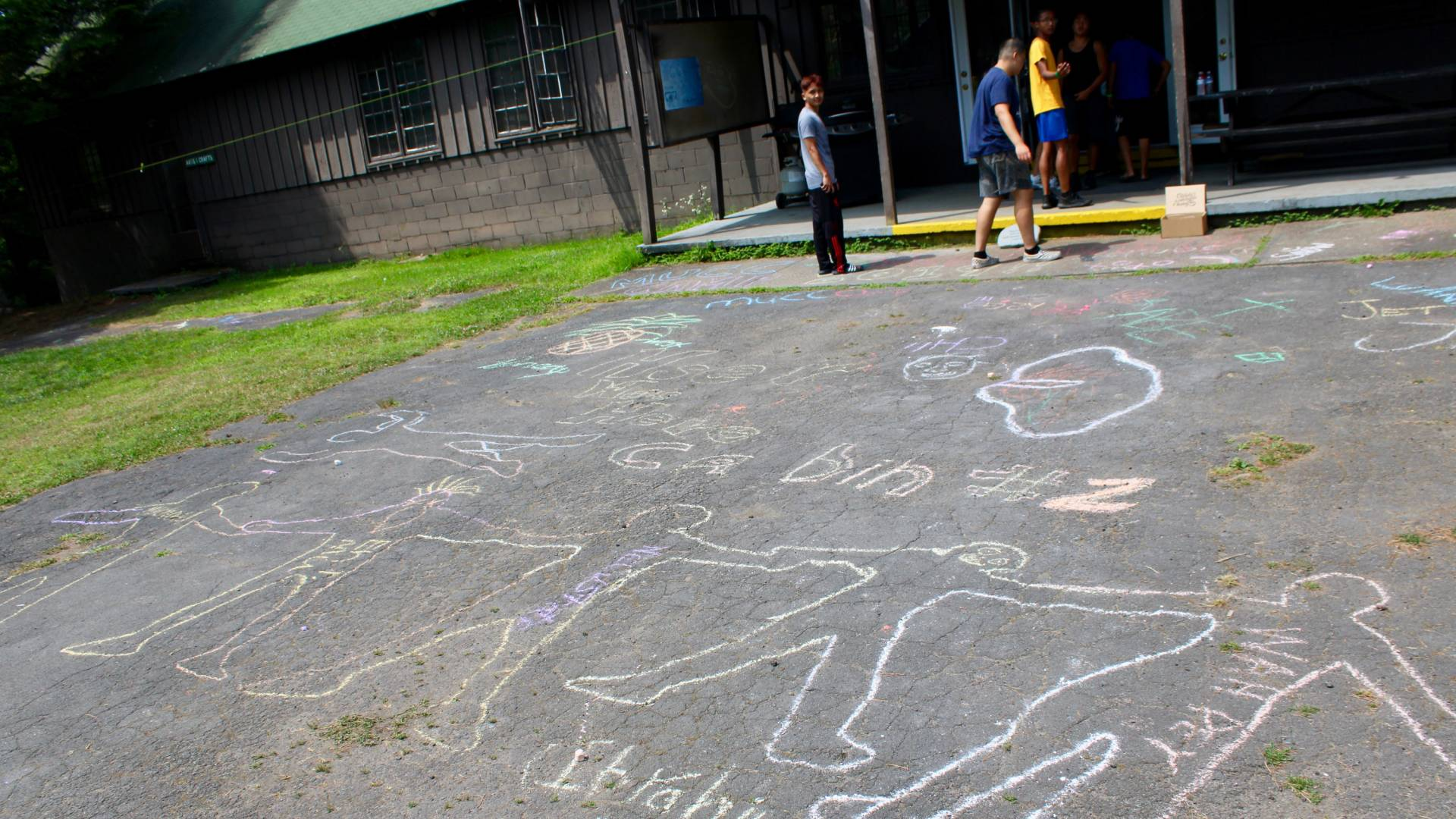 Chalk figures drawn on the ground