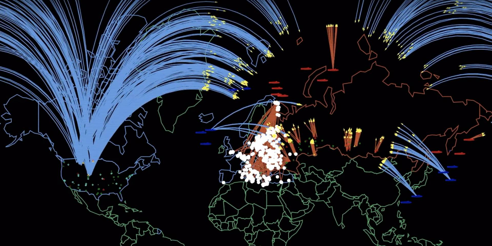 Video still of map with lines depicting nuclear war