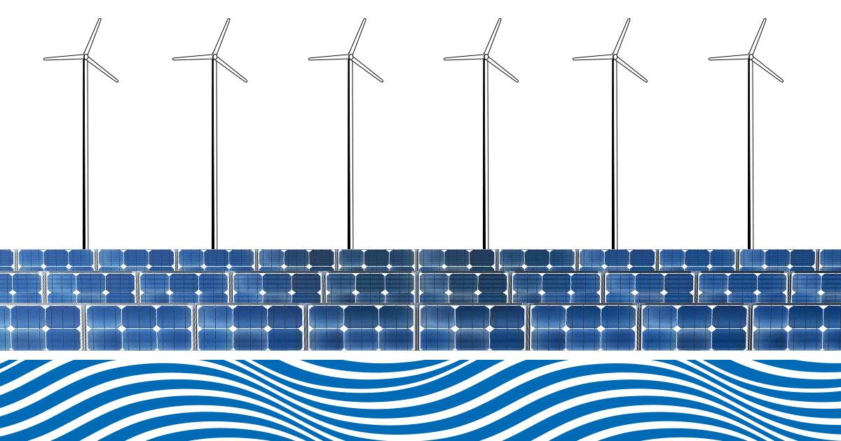 Wind turbines, solar panels and waves