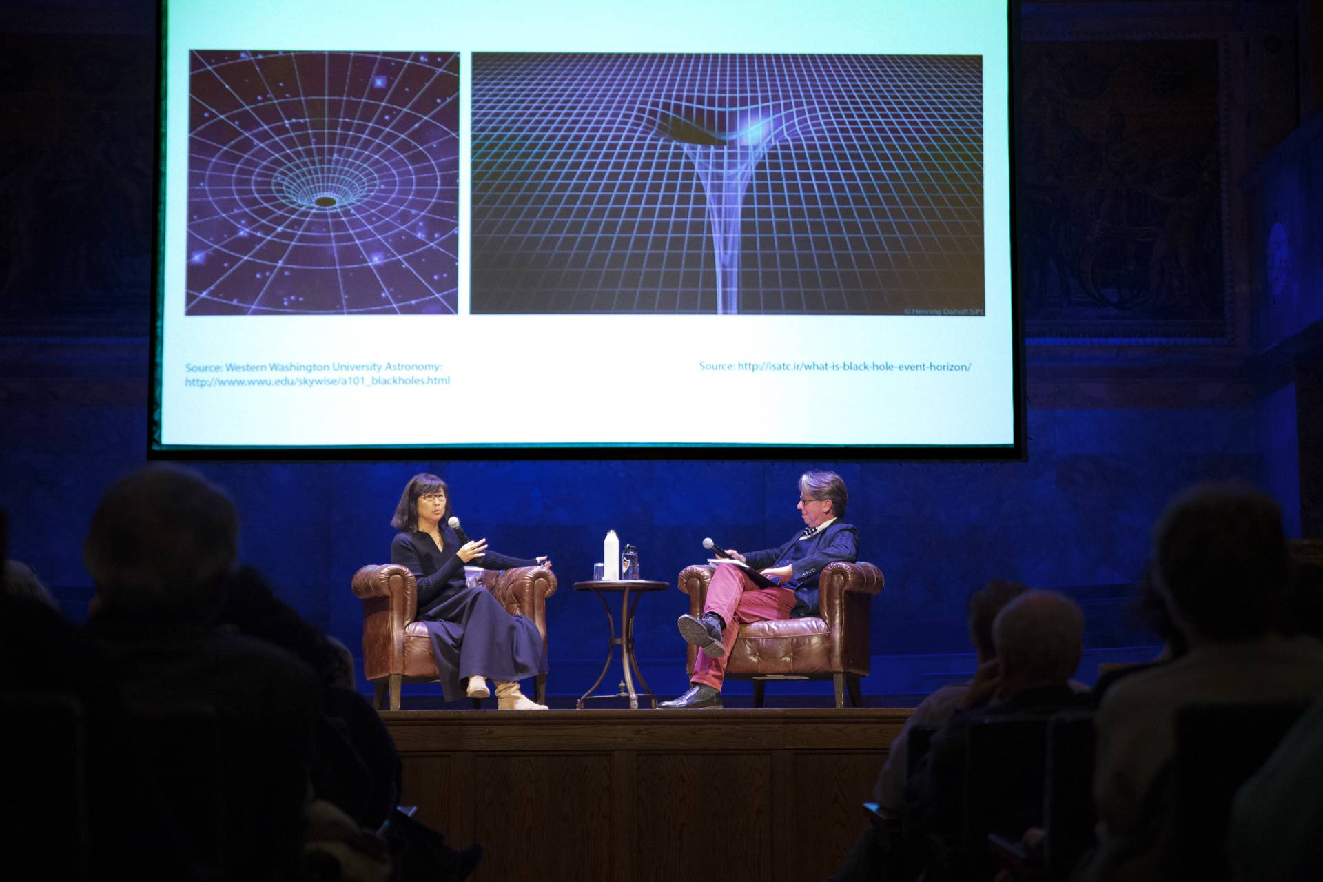 Maya Lin speaks with James Steward on stage about her installation