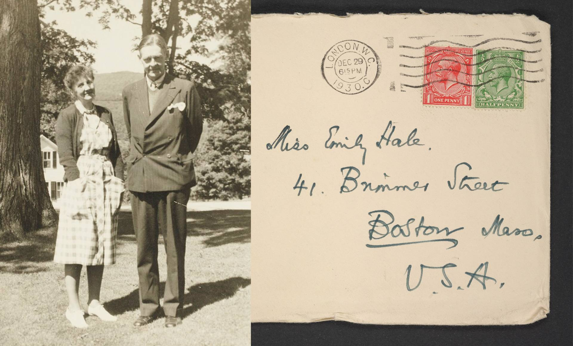 Archival photo of T.S. Eliot and Emily Hale and a digitized envelope addressed to Emily Hale