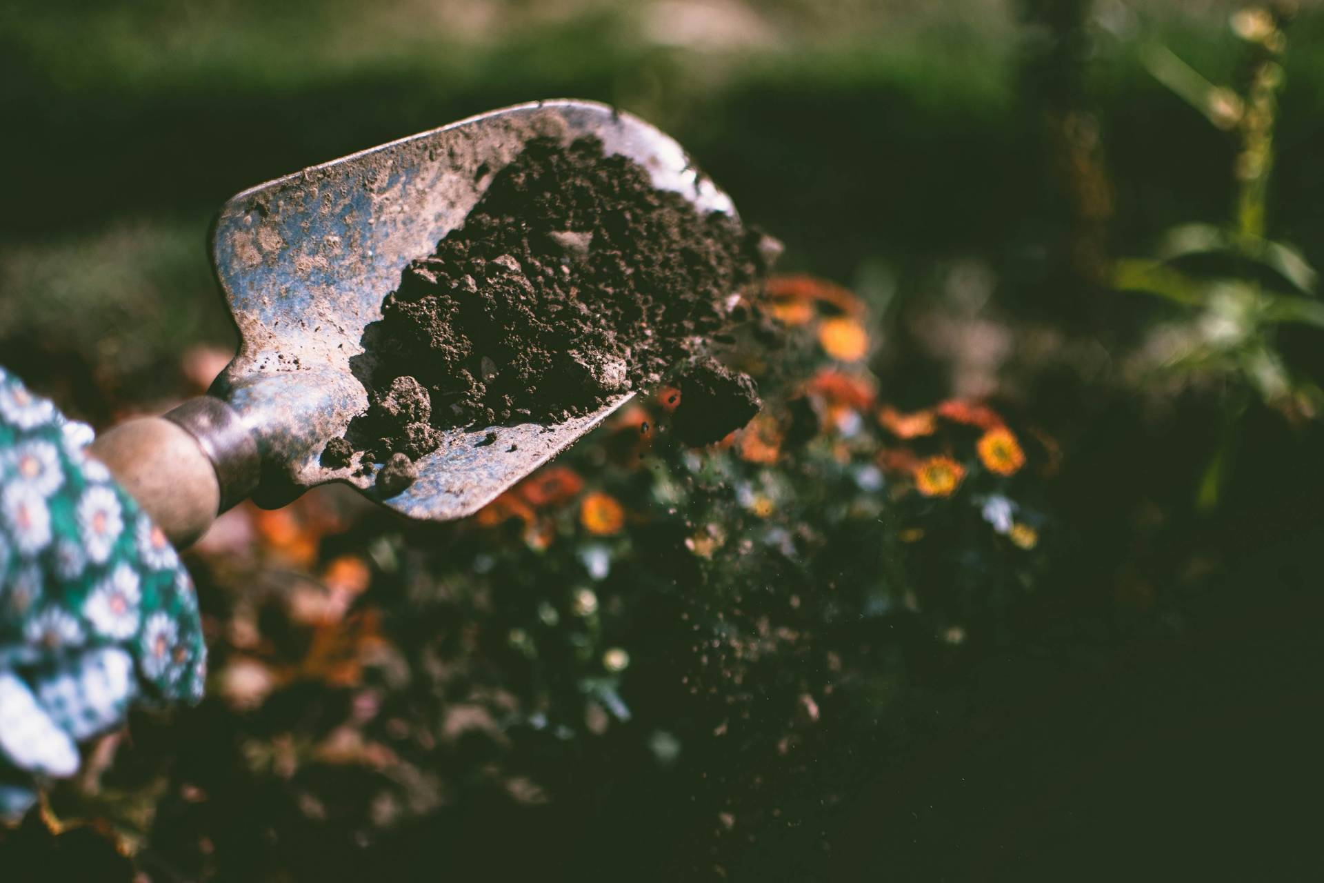 A spade with dirt on it