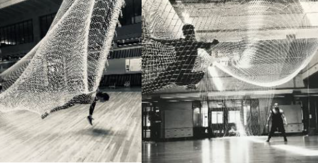 Silhouettes of dancers in net structures