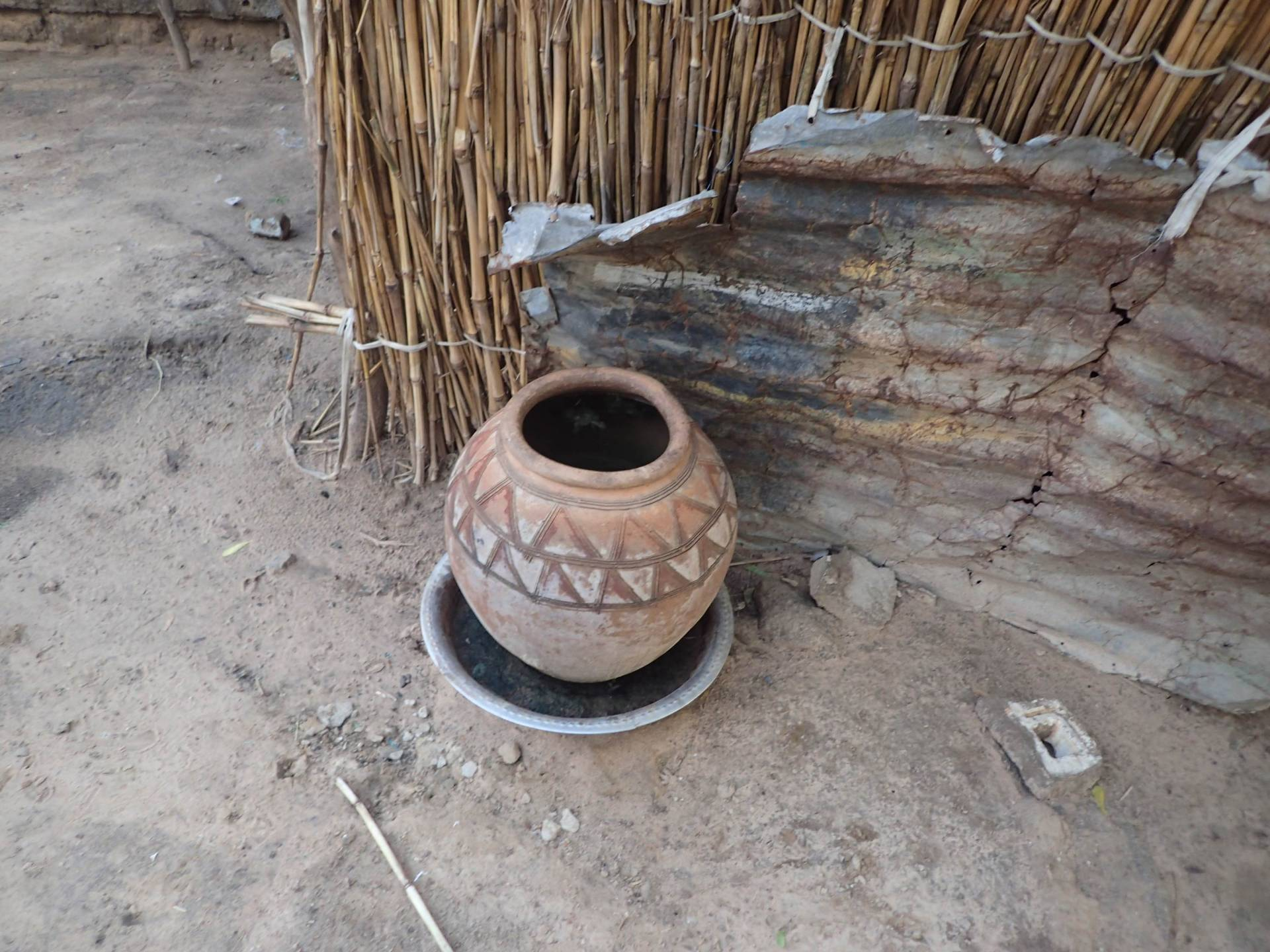 Clay pot used to store water in dry climate