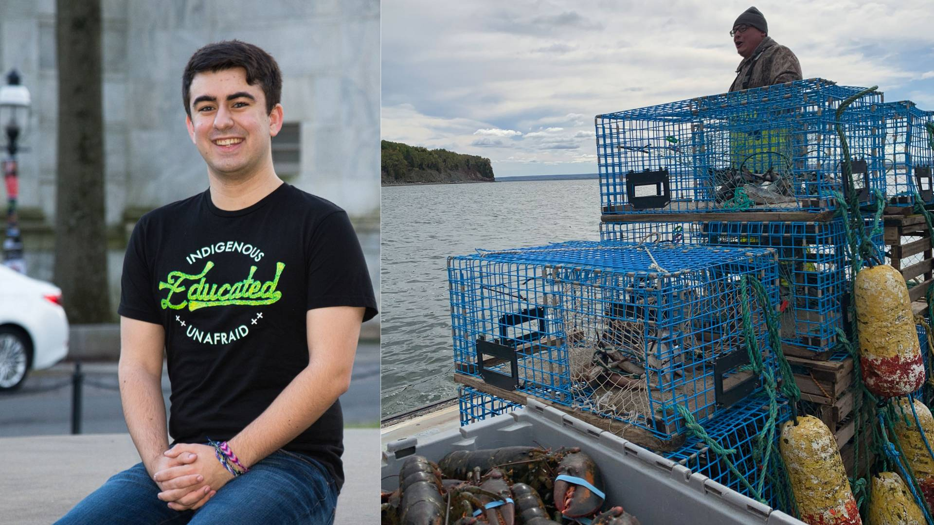 Gabriel Duguay and a fisherman and lobster traps