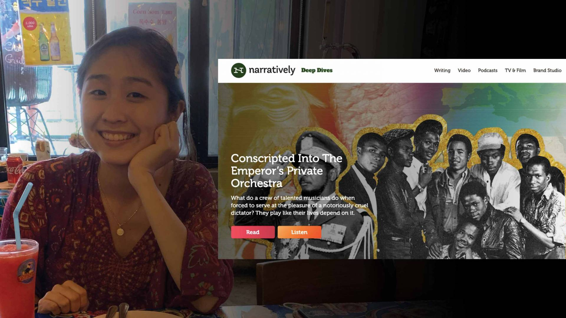 Jimin Kang and a scheetshot of her editorial work at Narratively