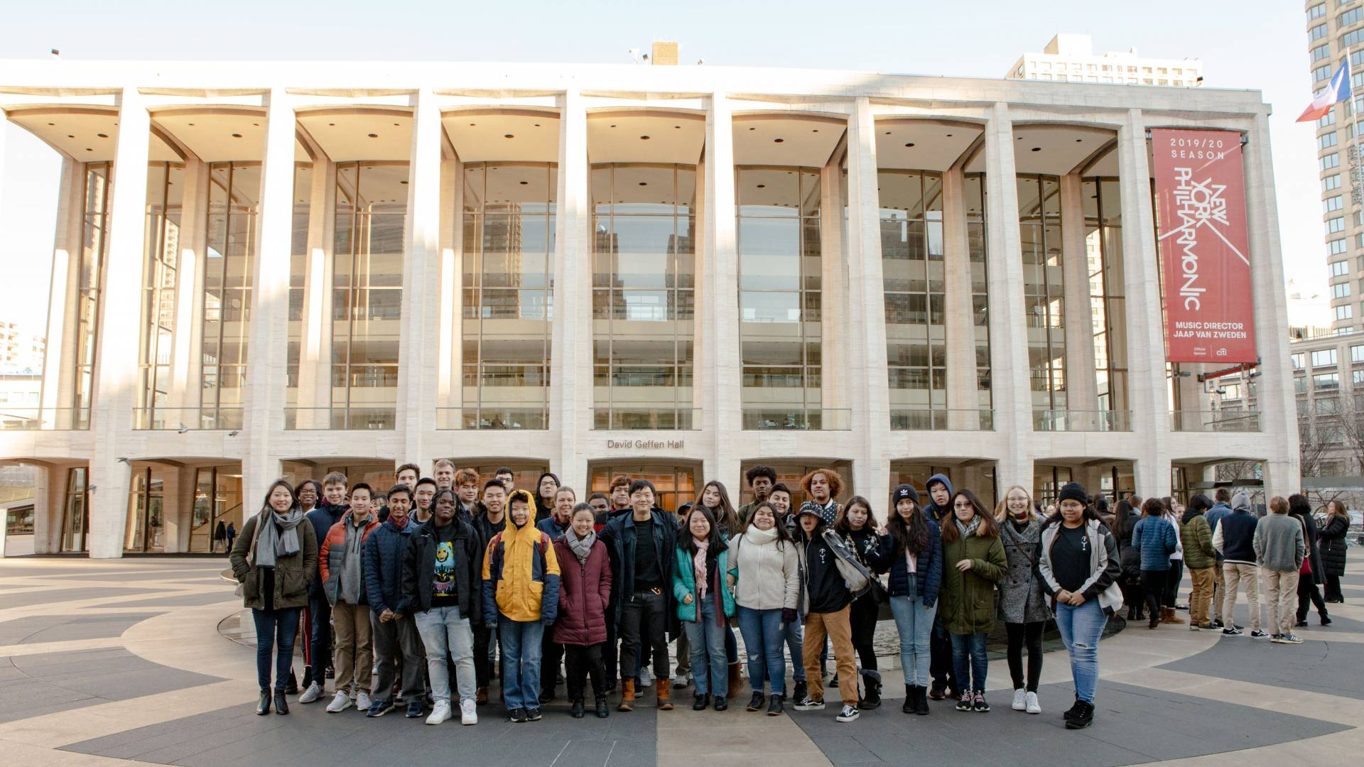 Trenton Arts Program participants pose in front of David Geffen Center in New York City
