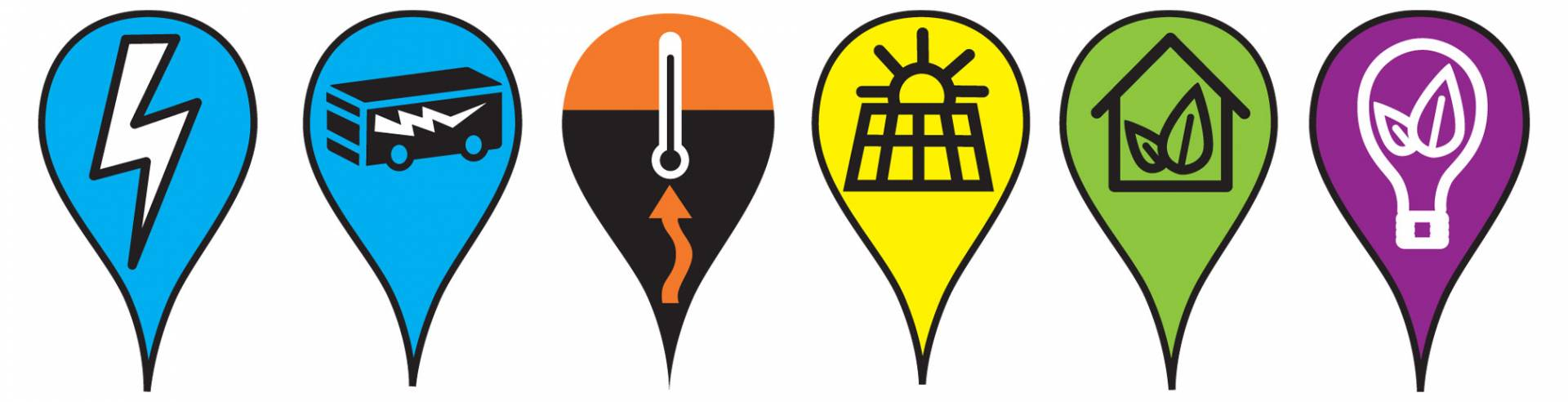 Mapmarkers with lightning, an electrified bus, a thermometer, solar panel, a house with leaves, a light bulb with a leaf inside