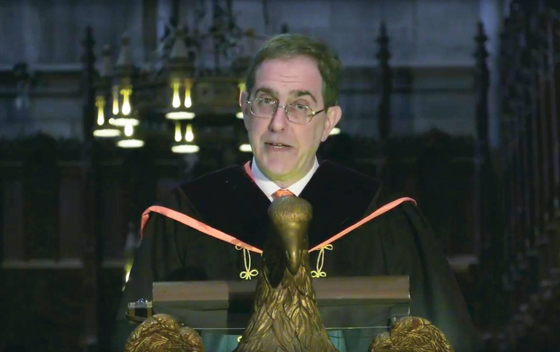 Christopher Eisgruber delivering Baccalaureate address