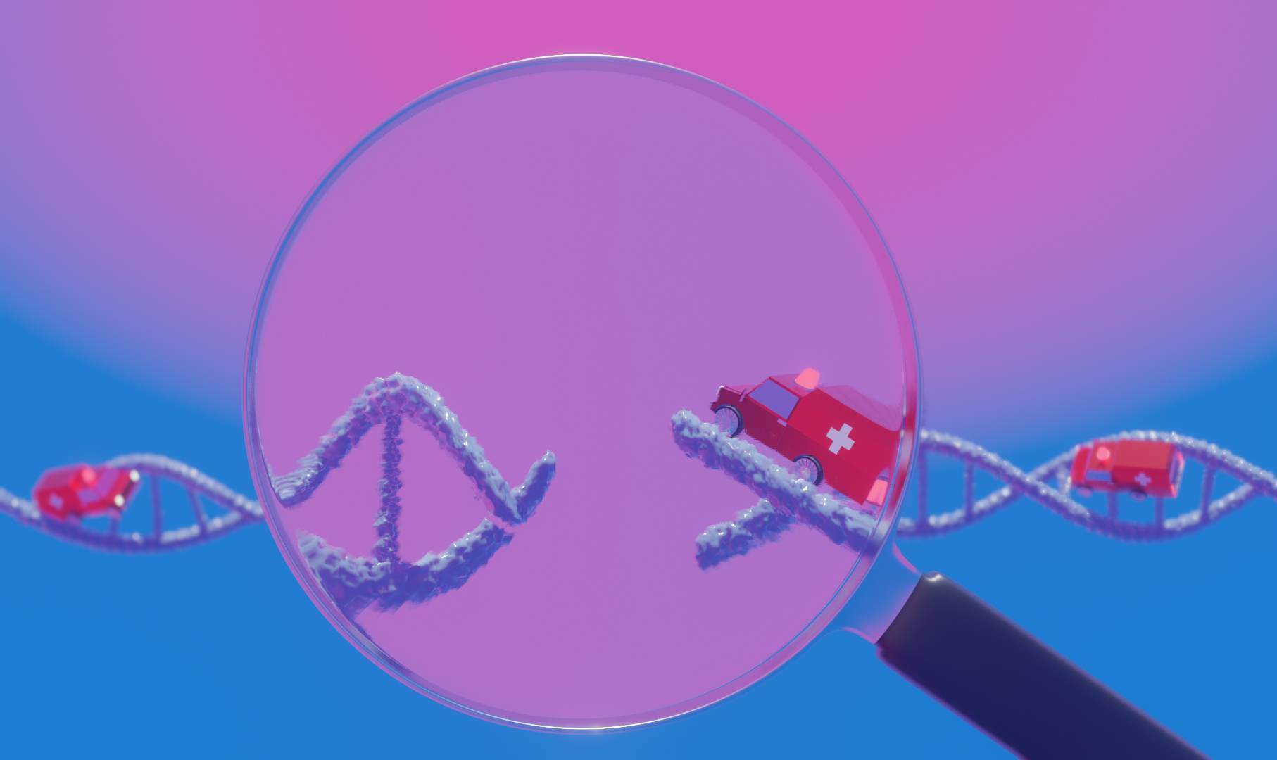 Two ambulances careen towards a broken part of a strand of DNA which is magnified by a glass