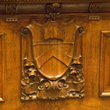 Wood-carved Princeton crest