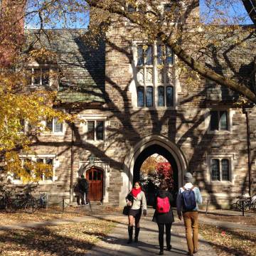 Students walk in Holder Courtyard