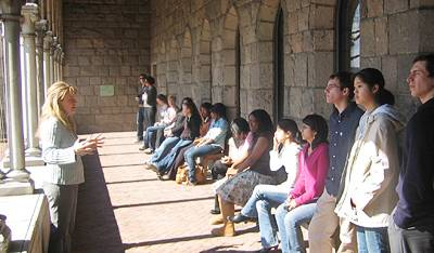 Students touring the Cloisters museum
