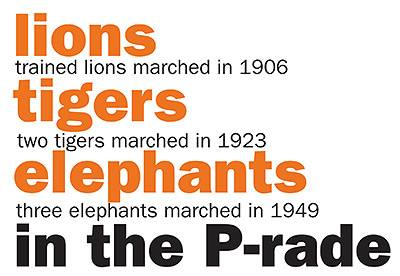Lions tigers elephants marched in the P-rade Trained lions marched in 1906 Two tigers marched in 1923 Three elephants marched in 1949
