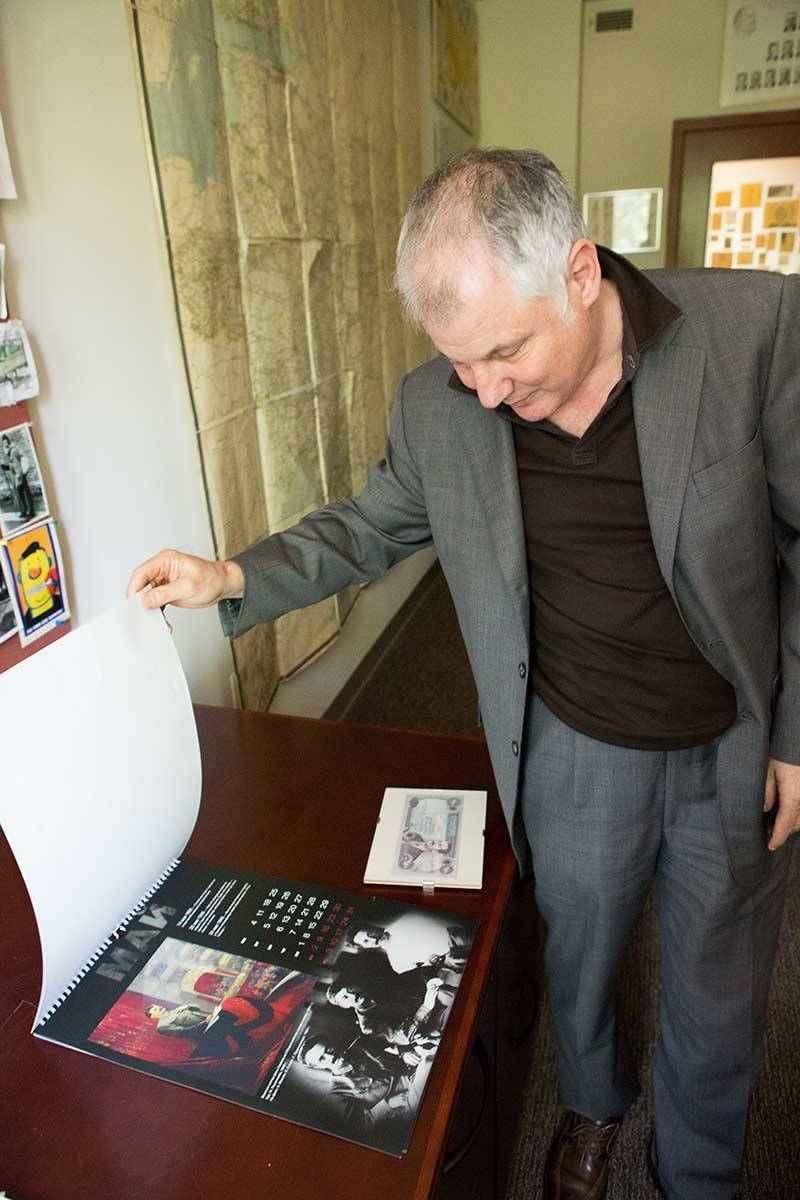 Stephen Kotkin with Stalin calendar