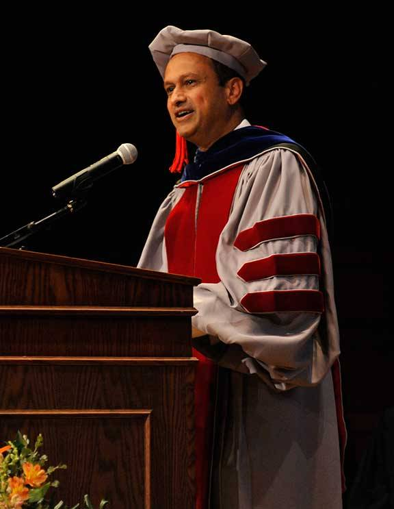 Dean Sanjeev Kulkarni addresses doctoral and master's degree recipients