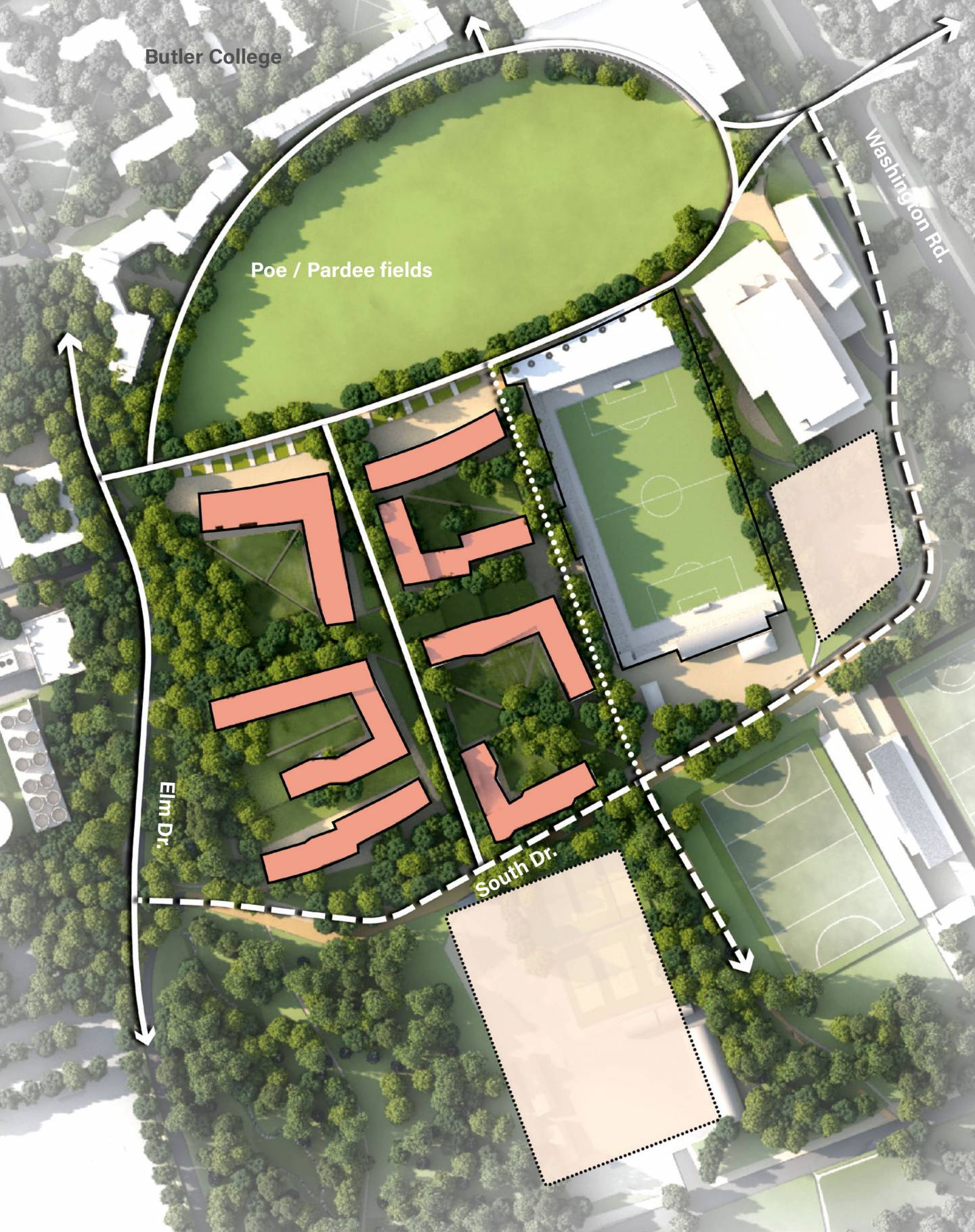 Campus Plan map of potential residential colleges