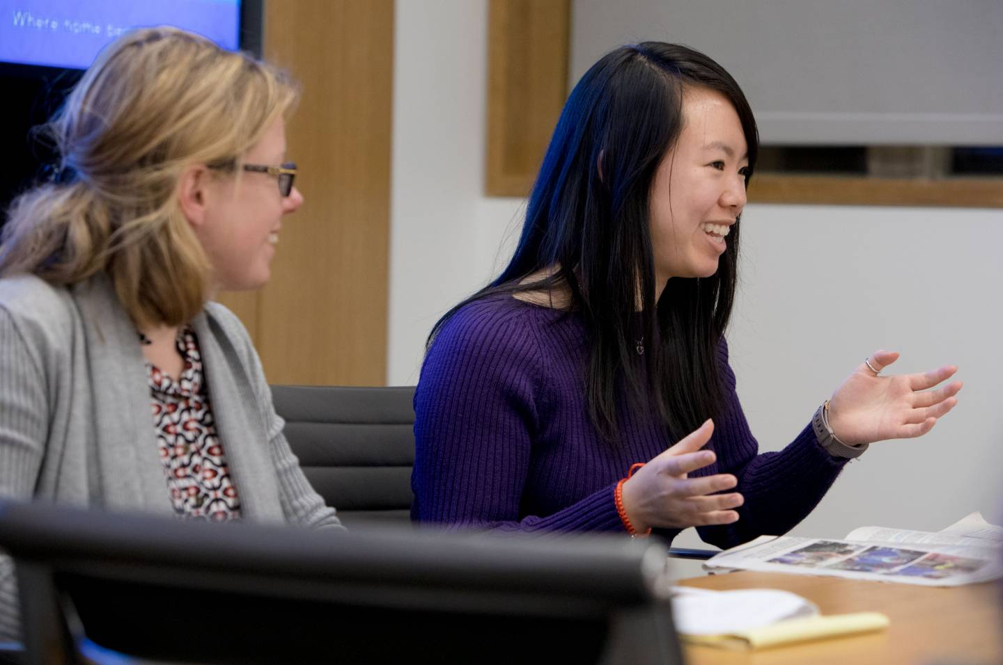Professor Anna Stilz and student Angela Wu in classroom