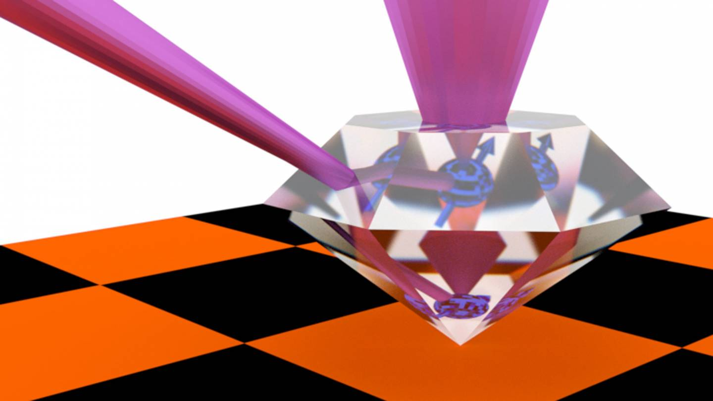 Graphic showing quantum information being retransmitted through a diamond