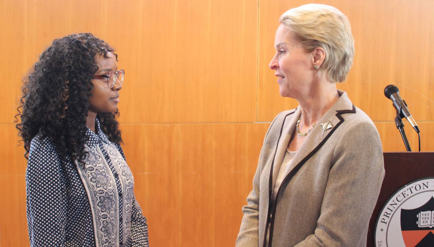 Claire Orare speaking to Frances Arnold