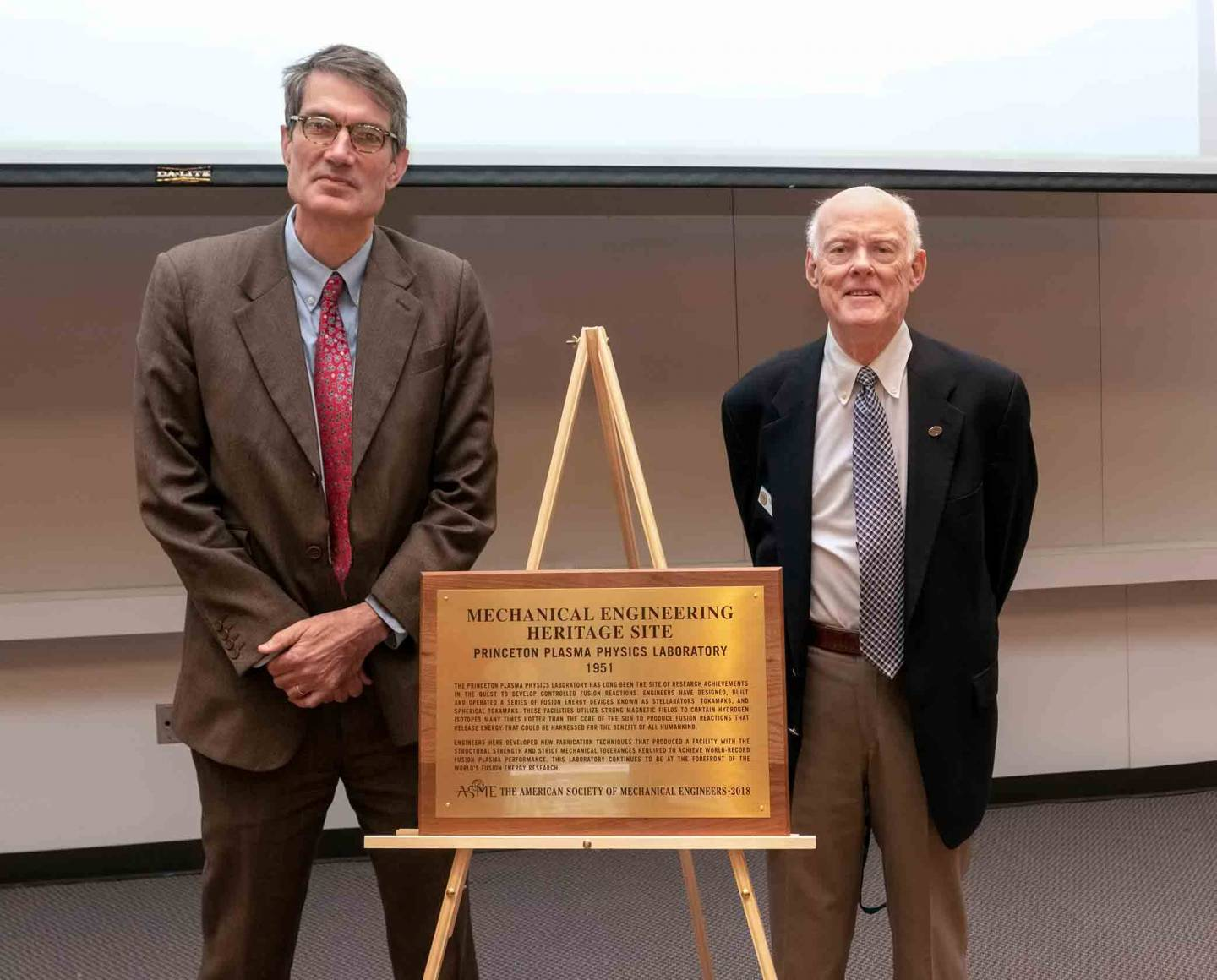 Steve Cowley, Robert Simmons and PPPL plaque