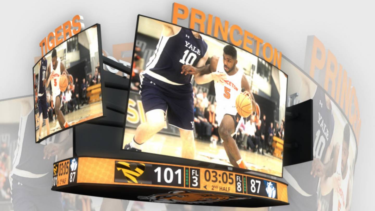 Illustration of video board above basketball court at Jadwin Gym