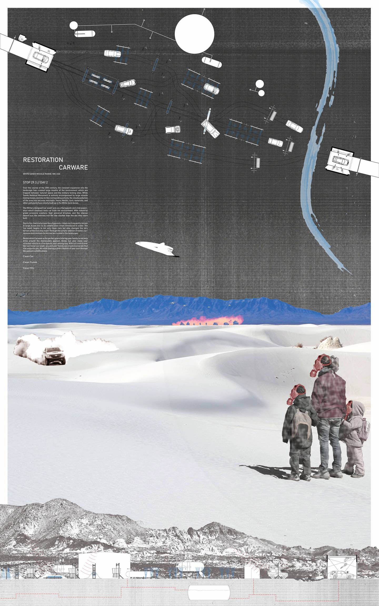full poster with 2 children and adult watching a truck coming across a dune towards them