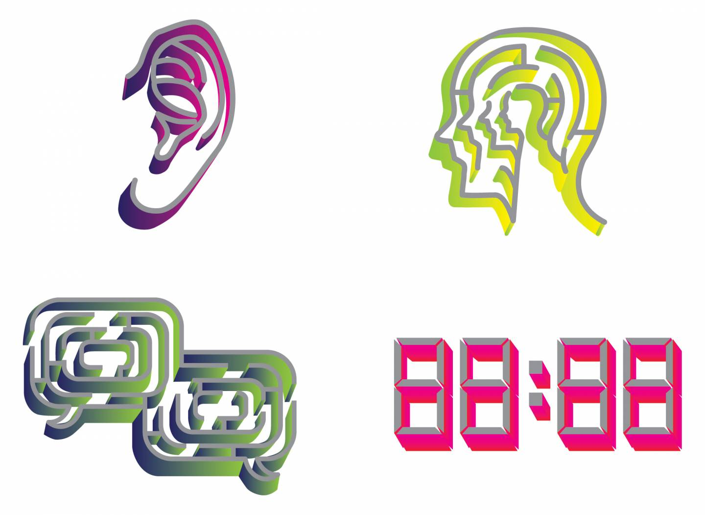 Maze-like icons of an ear, head, dialogue balloons, and clock