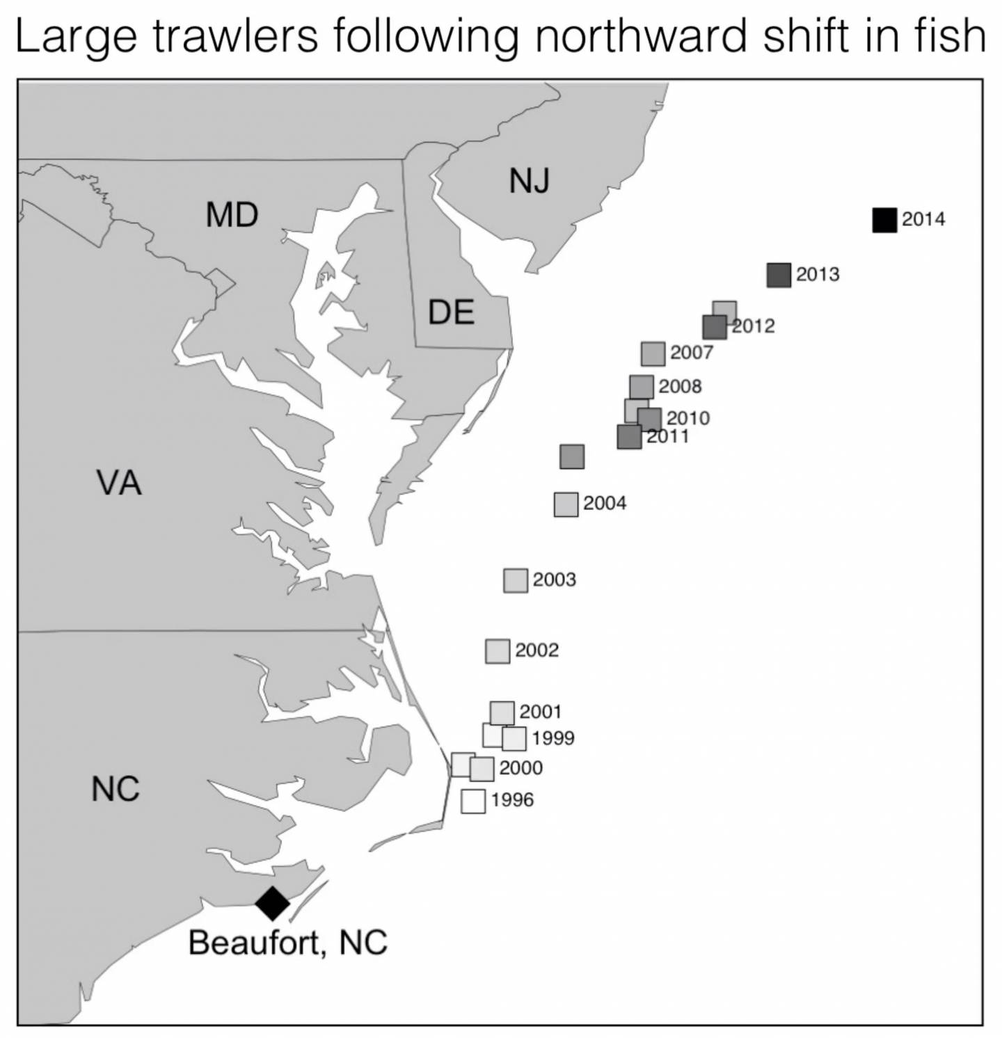 A map of the eastern coast of the United States showing where fishing boats from Beaufort, NC are fishing