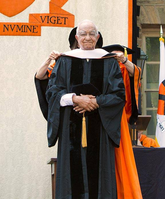 Rivers receives an honorary degree onstage