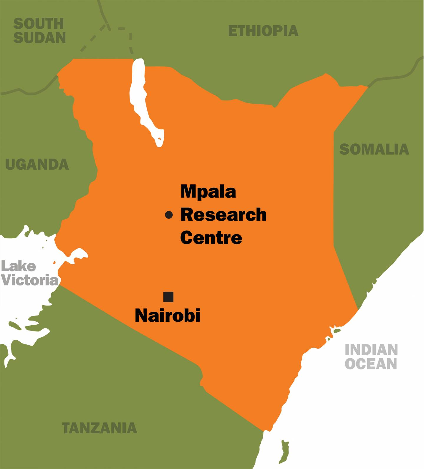 Map of Kenya, showing where the Mpala Research Center is located