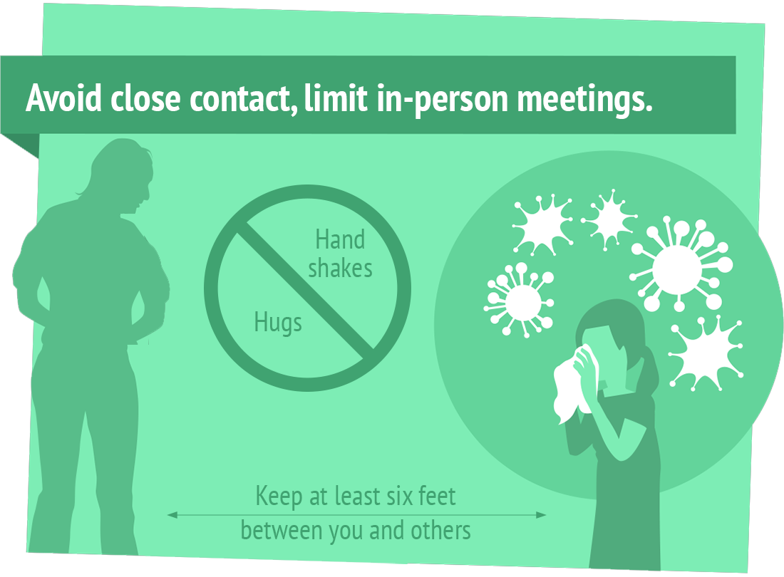 Avoid close contact, limit in-person meetings, keep 6 feet between you and others