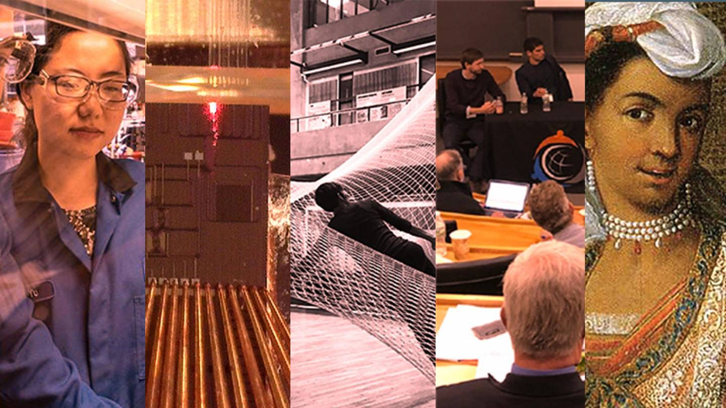 Composite images of research, machines, a person in a net, detail of an 18th century painting, and people in a seminar event