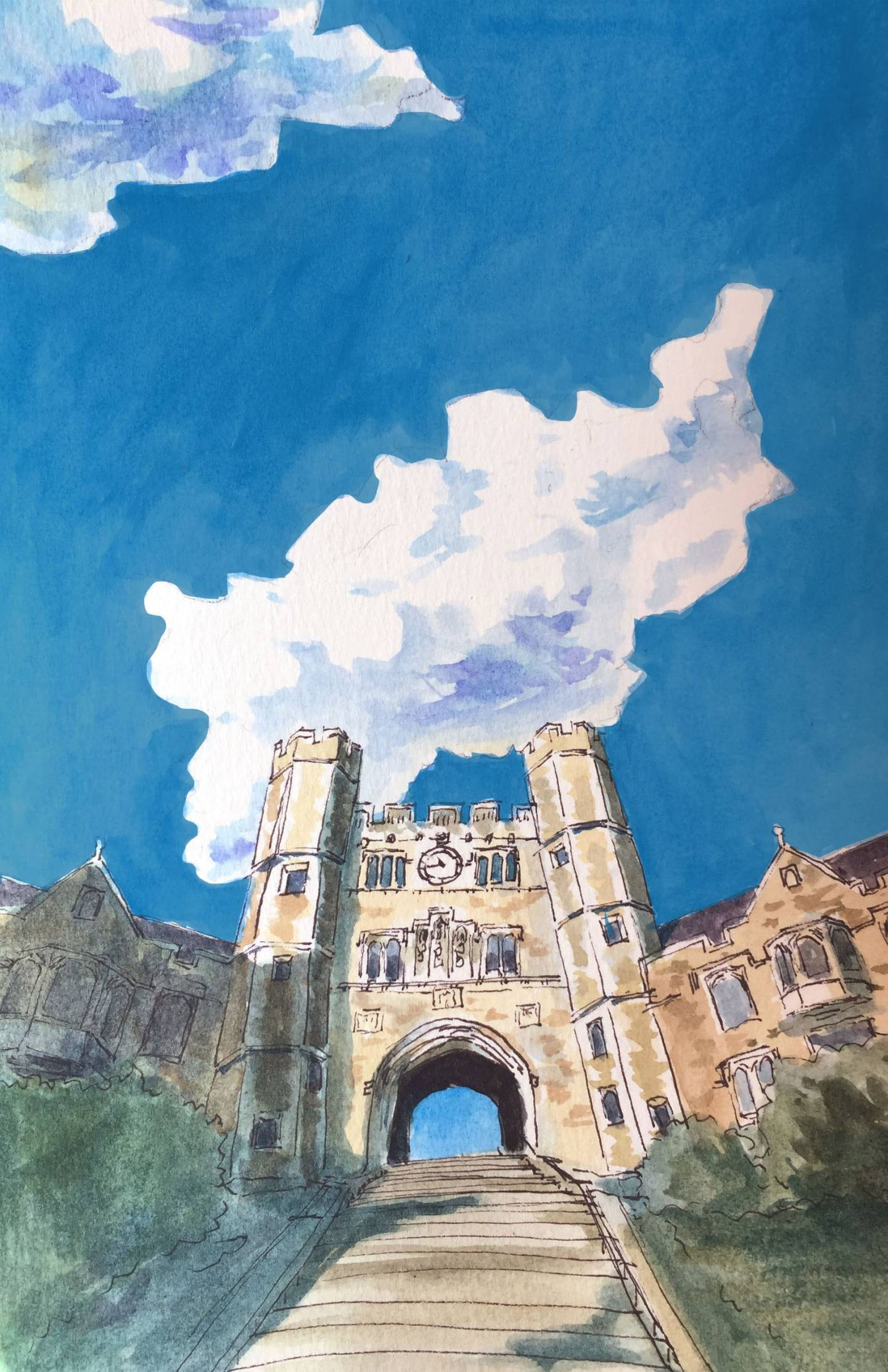 Blair Hall watercolor
