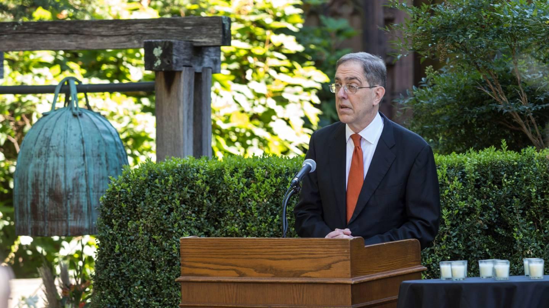 President Christopher L. Eisgruber speaks at a podium