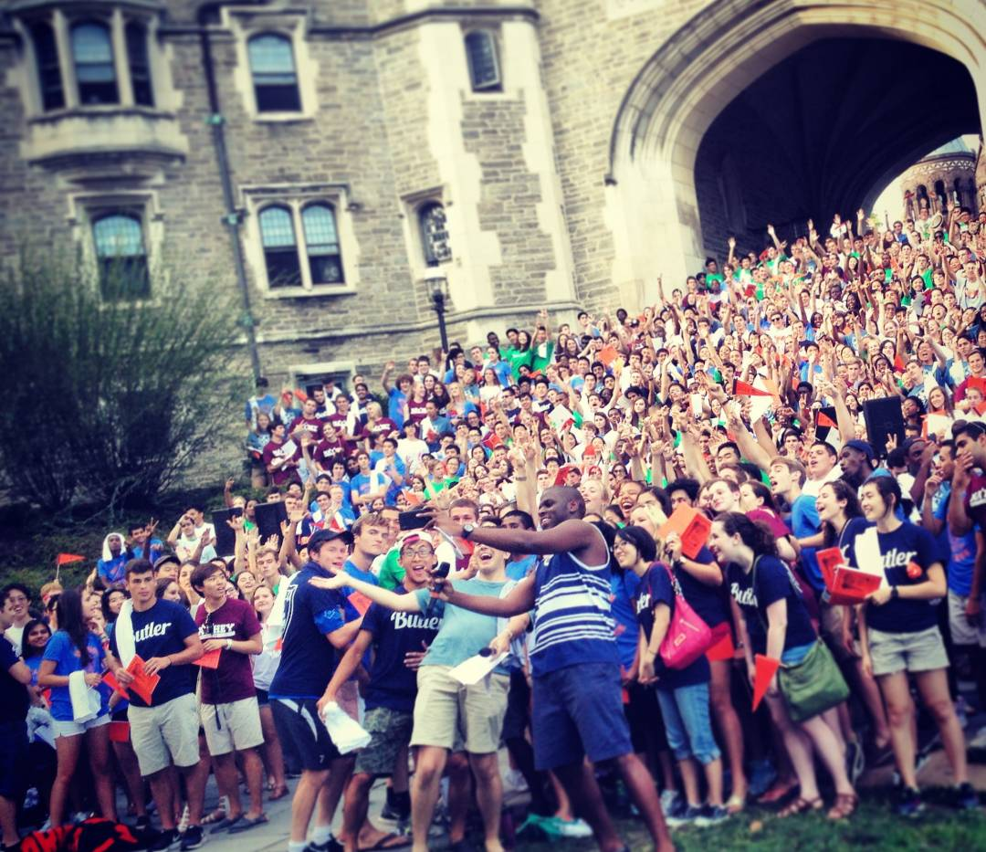 Students pose for giant selfie in front of Blair Arch during Opening Exercises