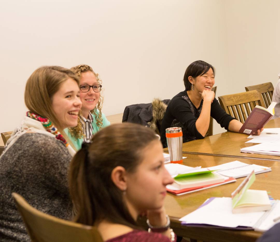 "Students with Sarah Chihaya in Freshman Seminar ""Student Life: The University in Film and Fiction"""