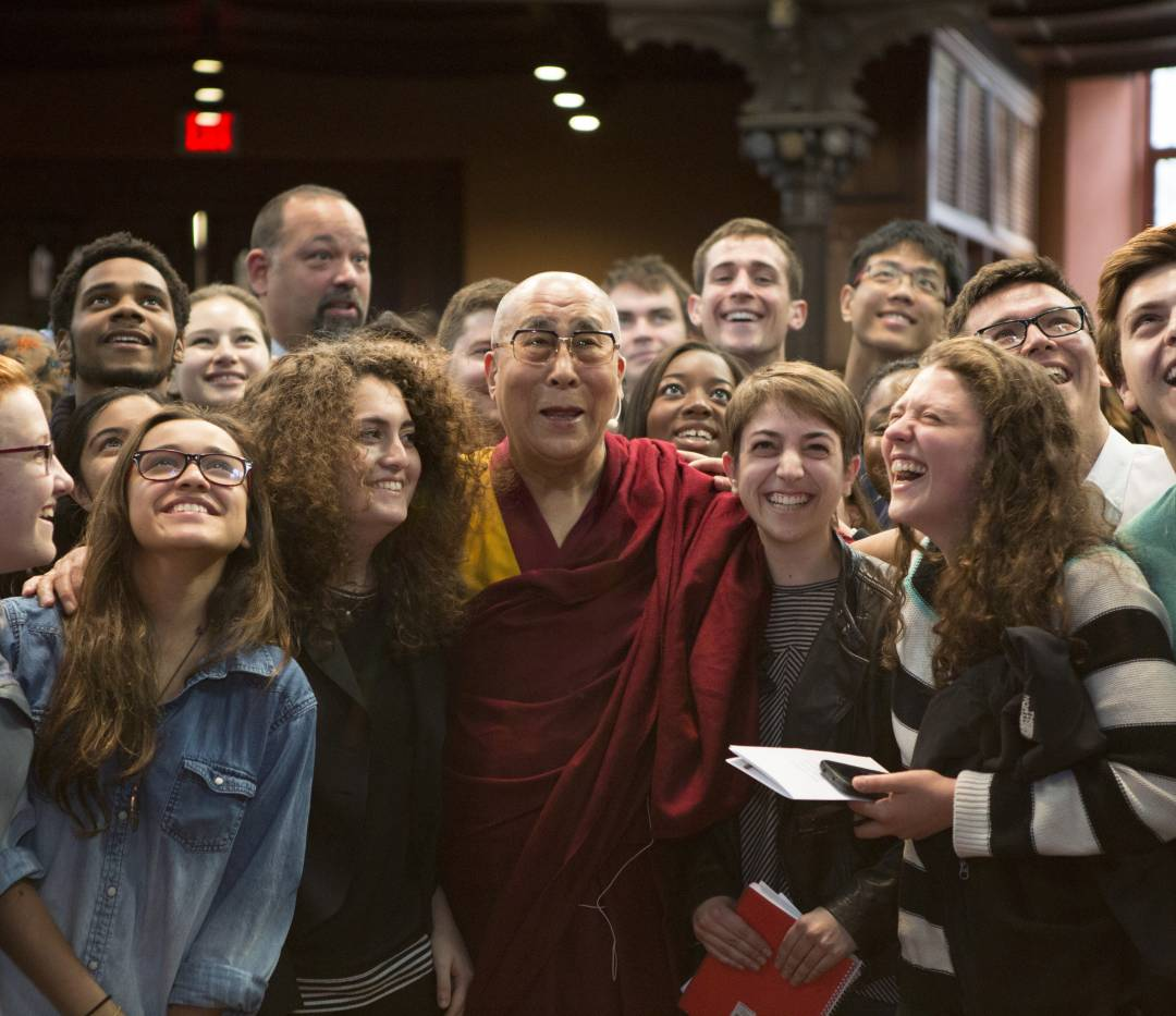 Dalai Lama with students